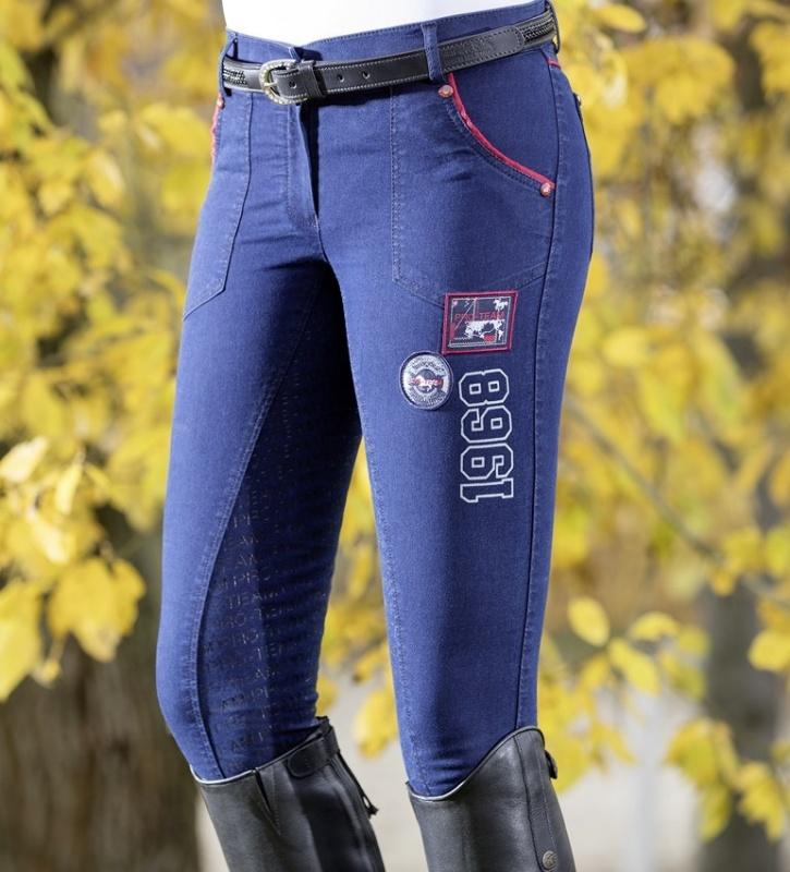 klassische Passform 100% hohe Qualität preiswert kaufen Details zu Damen Reithose Performance Denim Silikon Vollbesatz HKM PRO TEAM  jeansblau NEU